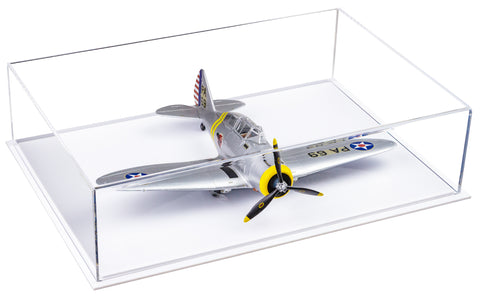 Deluxe Clear Acrylic Model Plane Display Case with White Base (WDS)