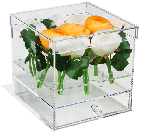 Clear Acrylic Flower Display Case with Drawer or without Drawer