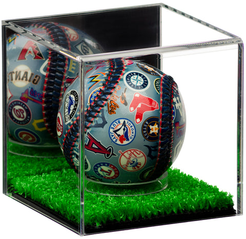 baseball, tennis ball, display case