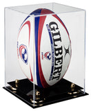 Deluxe Clear Acrylic Rugby Ball Display Case with Risers (A060)<br> <sub> PRO, NCAA, and more! </sub>, Display Case, Better Display Cases, Better Display Cases - Better Display Cases