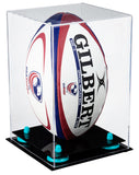Deluxe Clear Acrylic Rugby Ball Display Case Vertical with Risers (A060)<br> <sub> PRO, NCAA, and more! </sub>