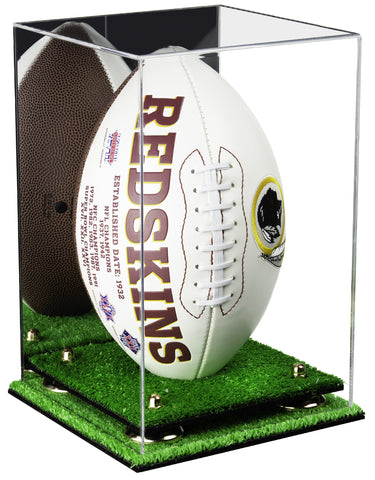 Acrylic Football Display Case Vertical with Mirror, Risers and Turf Base