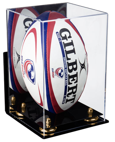Deluxe Acrylic Rugby Ball Display Case with Mirror, Wall Mount and Risers (A060)<br> <sub> PRO, NCAA, and more! </sub>, Display Case, Better Display Cases, Better Display Cases - Better Display Cases