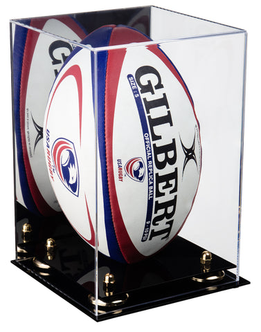 Deluxe Acrylic Rugby Ball Display Case with Mirror and Risers (A060)<br> <sub> PRO, NCAA, and more! </sub>, Display Case, Better Display Cases, Better Display Cases - Better Display Cases
