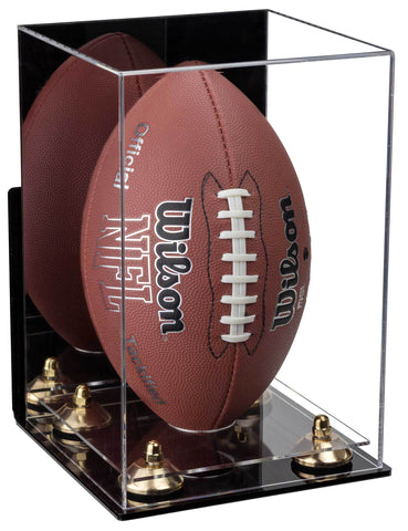 Acrylic Football Display Case Vertical with Mirror, Wall Mount, Risers and Clear Base