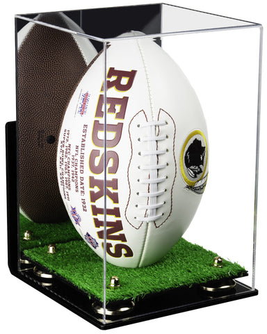 Acrylic Football Display Case Vertical with Mirror, Wall Mount, Risers and Turf Base