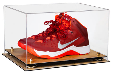 Deluxe Clear Acrylic Basketball Shoe Pair Display Case with Risers and Wood Floor (A082-WF), Display Case, Better Display Cases, Better Display Cases - Better Display Cases