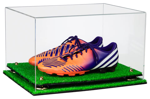 Deluxe Clear Acrylic Large Shoe Pair Display Case for Basketball Shoes Soccer Cleats Football Cleats with Risers and Turf Base (A082-TB), Display Case, Better Display Cases, Better Display Cases - Better Display Cases