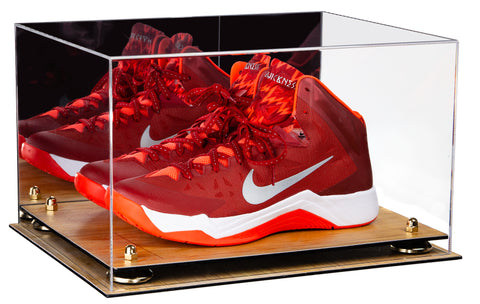 Deluxe Acrylic Basketball Shoe Pair Display Case with Mirror, Risers and Wood Floor (A082-WF), Display Case, Better Display Cases, Better Display Cases - Better Display Cases