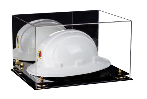 Deluxe Acrylic Large Helmet - Hard Hat Display Case with Mirror and Risers (A082)