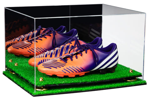 Deluxe Acrylic Large Shoe Pair Display Case for Basketball Shoes Soccer Cleats Football Cleats with Mirror, Risers and Turf Base (A082-TB), Display Case, Better Display Cases, Better Display Cases - Better Display Cases