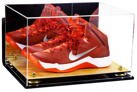 Acrylic Basketball Shoe Display Case w/ Mirror, Wall Mount, Wood Base A082/V13