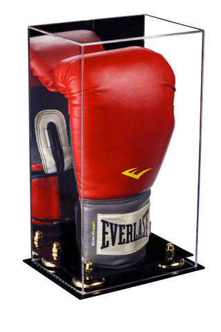 Acrylic Vertical Boxing Glove Display Case w/ Mirror, Black Base A092/V18