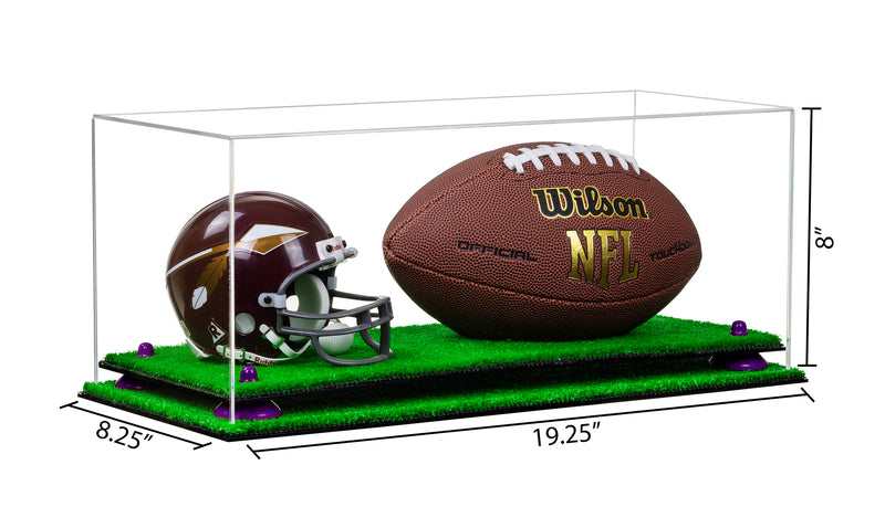 Clear Acrylic Full Size Football and Mini Helmet (not Full Size) Display Case w/ Turf Base A103/B47