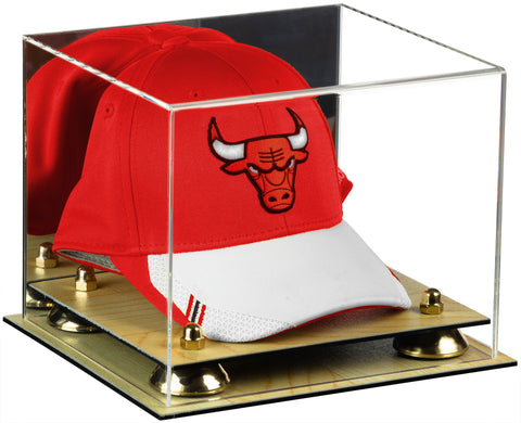 Deluxe Acrylic Basketball Hat or Cap Display Case <br><sub>with Mirror, Risers and Wood Base (A006), Display Case, Better Display Cases, Better Display Cases - Better Display Cases