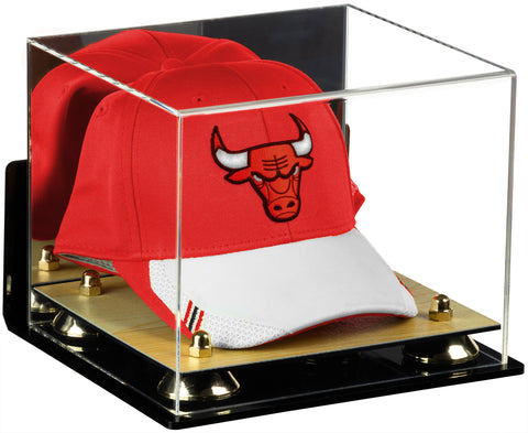 Acrylic Basketball Hat or Cap Display Case with Mirror, Wall Mount, Risers and Wood Base