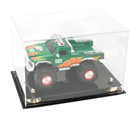 Versatile Clear Acrylic Display Case - Medium Rectangle Box with Risers and Black Base