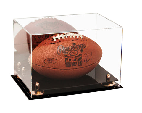 Acrylic Football Display Case with Mirror, Risers and Black Base
