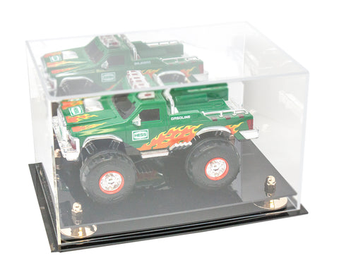 Versatile Acrylic Display Case - Medium Rectangle Box with Mirror, Risers and Black Base