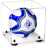 Clear Acrylic Soccer Ball Display Case with Risers and White Base