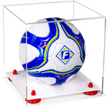 Clear Acrylic Soccer Ball Display Box with White Base