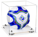 White Based Acrylic Soccer Ball Display Box with Risers