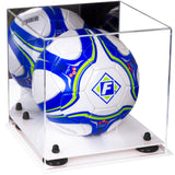 Acrylic Soccer Ball Display Case with Mirror, Risers and White Base