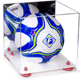 Acrylic Soccer Ball Display Case with White Base