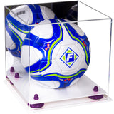 Acrylic Soccer Ball Display Case with Mirror and Risers