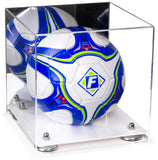 Mirrored Acrylic Soccer Ball Display Box with Risers