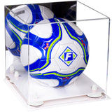 Mirrored Acrylic Soccer Ball Display Box with White Base