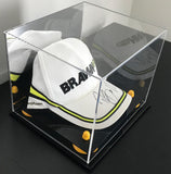 Baseball Cap or Hat Display Case with Mirror and Yellow Risers