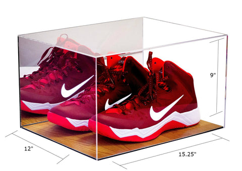 Basketball Shoe Display <br> Case With Wood Floor <br> and Mirror<br> <sub> For NBA, NCAA, and more </sub> - Better Display Cases - 2