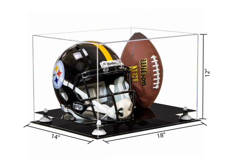"Acrylic Full-Size Football and Helmet Display Case - Large Rectangle Box with Clear Top 18"" x 14"" x 12"" (A014, V60)"