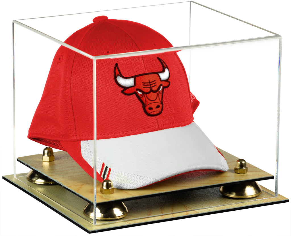 Deluxe Clear Acrylic Basketball Hat or Cap Display Case with Risers and Wood Base (A006)