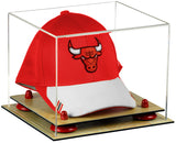 Basketball Hat or Cap Display Case with Wood Base