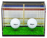 Deluxe Clear Acrylic Golf Ball Display Case with Black Back and Turf Floor