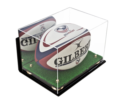 Deluxe Acrylic Rugby Ball Display Case with Risers Mirror, Turf Base and Wall Mount (A004-WMRTB), Display Case, Better Display Cases, Better Display Cases - Better Display Cases