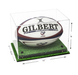 Deluxe Clear Acrylic Rugby Ball Display Case with Risers and Turf Base (A004-CRTB), Display Case, Better Display Cases, Better Display Cases - Better Display Cases