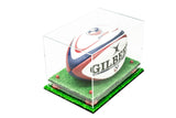 Deluxe Clear Acrylic Rugby Ball Display Case with Risers and Turf Base (A004-CRTB)