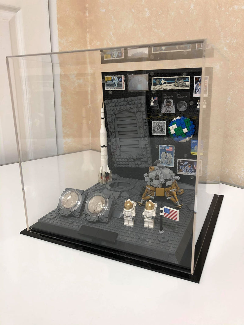 "Medium Acrylic Display Case 9.75""x9.75""x9.75"" w/ Clear or Mirror, Black Floor A027/V02"