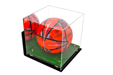 Deluxe Acrylic Soccer Ball Display Case with Risers Mirror, Turf Base and Wall Mount (A027), Display Case, Better Display Cases, Better Display Cases - Better Display Cases