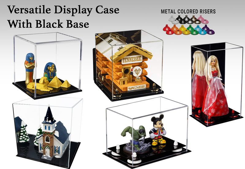 Acrylic Versatile Display Case with Risers and Black Base