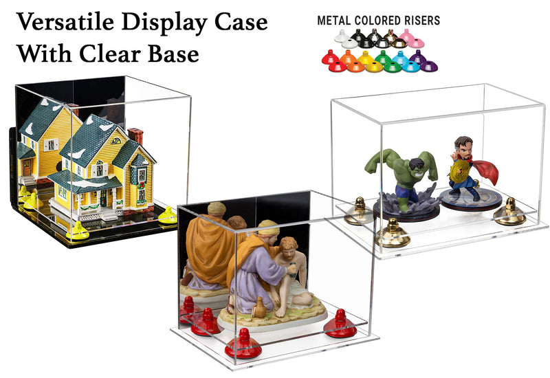 Versatile Acrylic Display Case with Risers and Clear Base