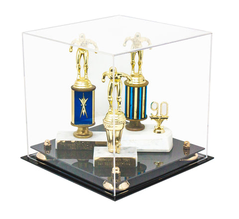 "Versatile Deluxe Clear Acrylic Display Case <br>Medium Square Box with<br><sub> Risers 9.75"" x 9.75"" x 9.75"" (A027), Display Case, Better Display Cases, Better Display Cases - Better Display Cases"