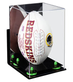 Deluxe Acrylic Football Display Case Vertical with Mirror, Wall Mount and Risers (A060)
