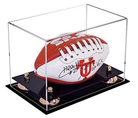 Clear Acrylic Mini - Miniature (not Full Size) Football Display Case with Risers