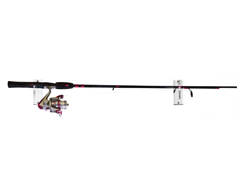Deluxe Clear Acrylic Fishing Pole Horizontal Wall Mount Bracket (A023-F-SS)