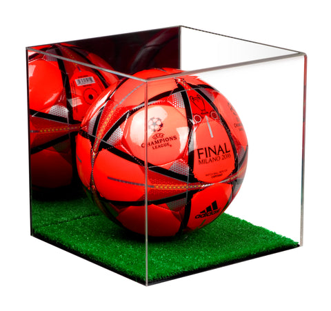 Deluxe Acrylic Full Size Soccer Ball Display Case <br><sub>with Mirror and Turf Floor (A007-TB), Display Case, Better Display Cases, Better Display Cases - Better Display Cases