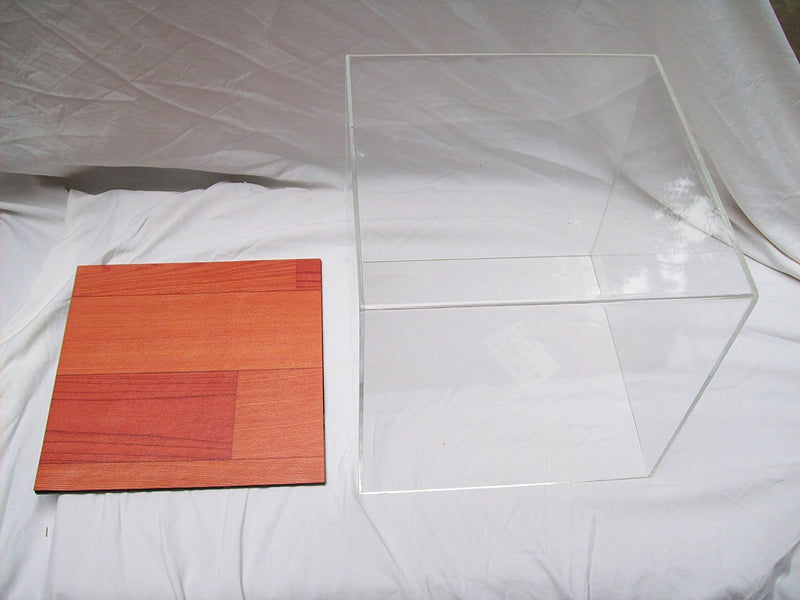 A026-CWB Clear or Mirrored Acrylic Deluxe Display Case Large Rectangle Box with Simulated Wood Floor 15.25 x 12 x 8